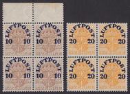 F 136-137cz, Luftpost 1920 fyrblock **