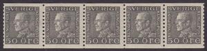 F 192b, Gustaf V profil vänster 50 öre grå femstrip **
