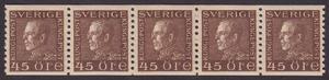 F 191a, Gustaf V profil vänster 45 öre brun femstrip **