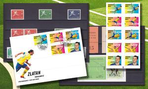 Svenska fotbollsfrimärken med Zlatan FDC