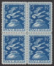 F 225, 5 kr Världspostföreningen 50 år fyrblock **