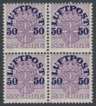 F 138cz, 50 öre Luftpost fyrblock **