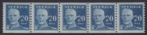 F 151A, 20 öre Gustaf V - en face femstrip **