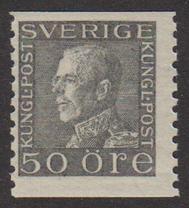 F 192b, Gustaf V profil vänster 50 öre grå **