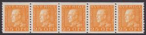 F 184, Gustaf V profil vänster 25 öre orange femstrip **