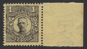 F 77, 1 kr Gustaf V i Medaljong med arkmarginal **