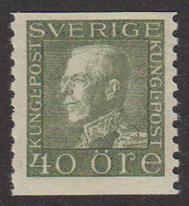 F 189, Gustaf V profil vänster 40 öre olivgrön typ I **