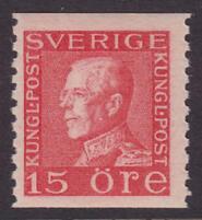 F 176, Gustaf V profil vänster 15 öre röd typ I **