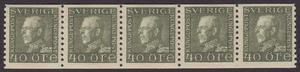 F 189, Gustaf V profil vänster 40 öre olivgrön typ I femstrip **