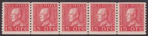 F 176, Gustaf V profil vänster 15 öre röd typ I femstrip **