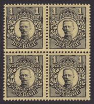 F 96Bz, Gustav V i Medaljong 1 kr fyrblock **