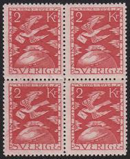 F 224, 2 kr Världspostföreningen 50 år fyrblock **