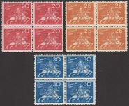 F 214-216, Världspostföreningen 50 år fyrblock **