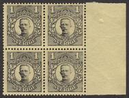 F 96, Gustaf V i Medaljong 1 kr fyrblock **