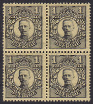 F 96Bz, Gustaf V i Medaljong 1 kr fyrblock **
