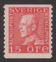 F 176A, 15 öre Gustaf V Profil Vänster typ I **