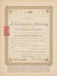 Aktiebrev H. Lichtenstein AB