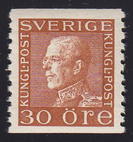 F 186c, 30 öre Gustaf V Profil Vänster **